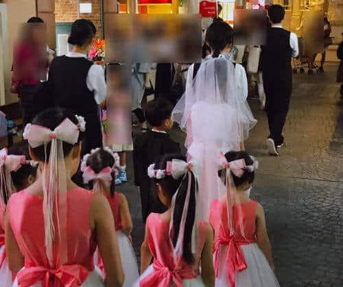 キッザニアの結婚式セレモニーの様子