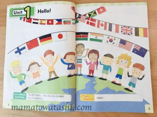 小3英語の教科書のUnit1