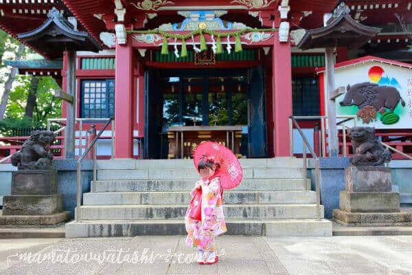 番傘を持って神社で753の出張撮影